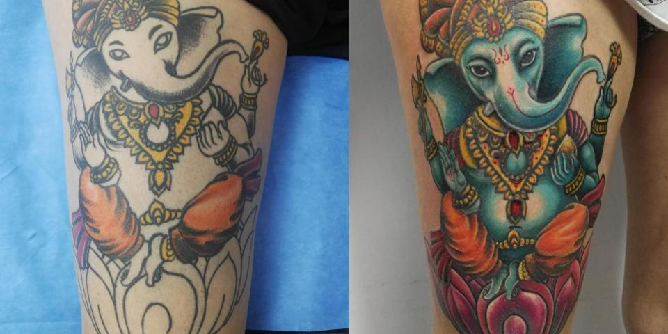 Muslo Tatuaje oriental ganesha a color – Jose Prieto Ink Sweet Tattoo