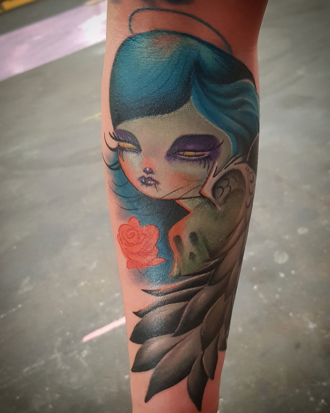Brazo tatuaje New School muñeca angel – Jose Prieto en Ink Sweet