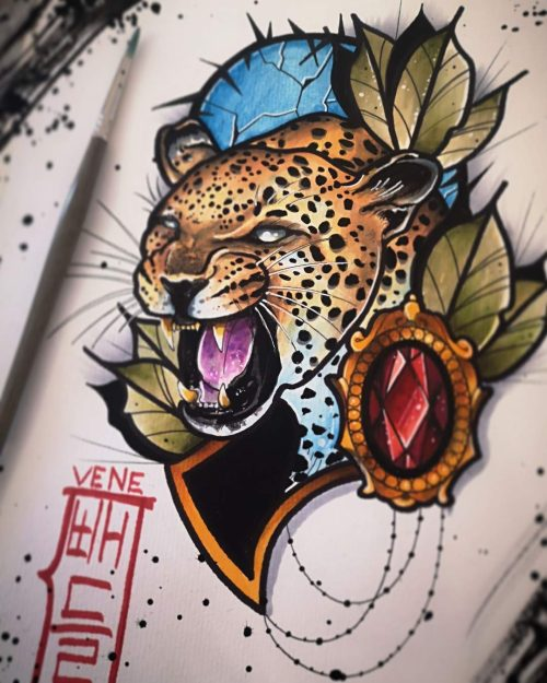 Diseño Flash Tattoo listo para tatuar leopardo. Tatuaje disponible estilo Tatuajes Neotradional de Vene 430 en Ink Sweet Tattoo