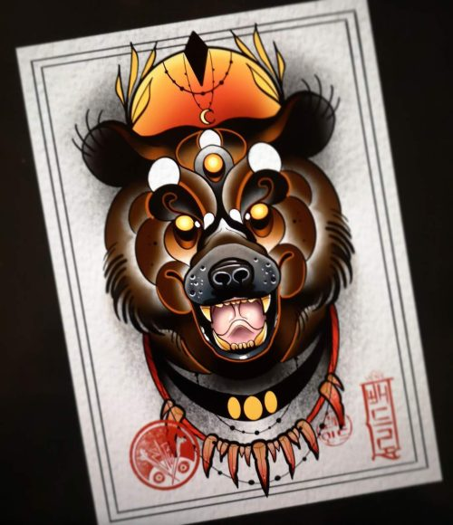 Diseño Flash Tattoo listo para tatuar oso. Tatuaje disponible estilo Tatuajes Neotradional de Vene 430 en Ink Sweet Tattoo